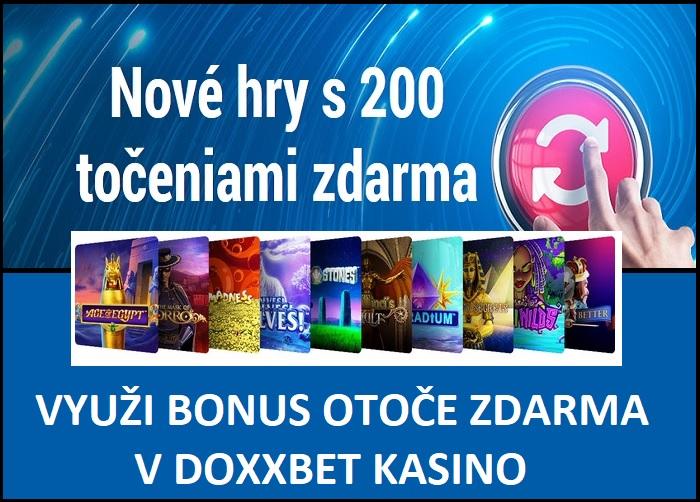 Bonusy DOXXBET 200 OTOČOV ZDARMA