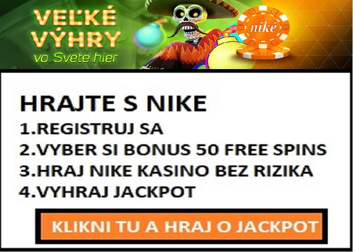 Bonusy NIKE KASINO DÁVA 50 FREE SPINOV