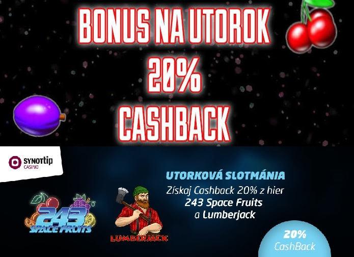 Bonusy Synot TIP CASINO Bonus na UTOROK