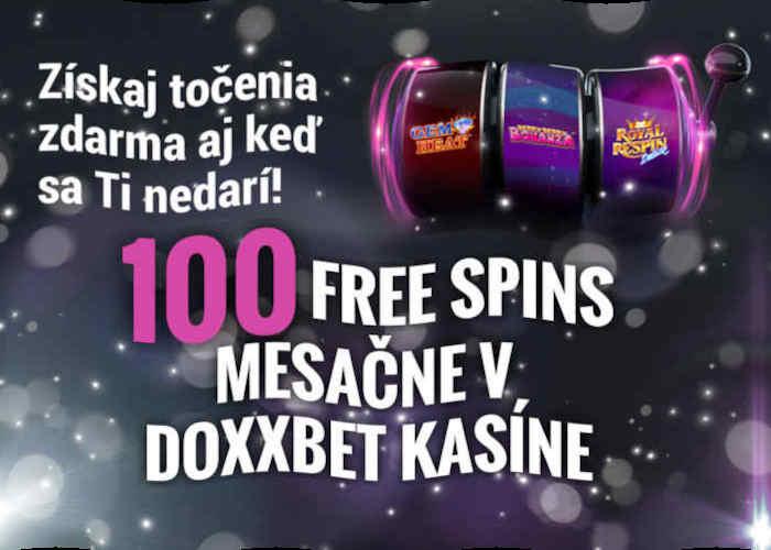 Doxxbet kasino nový bonus 100 free spinov zdarma