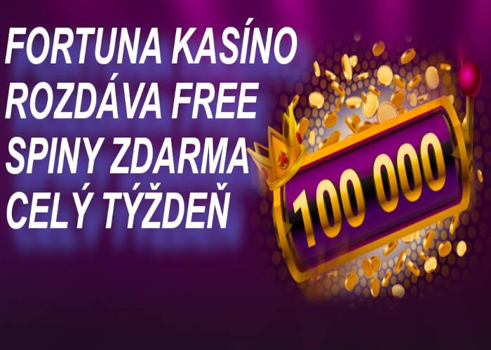 Free spiny vo Fortuna kasíne ako bonus pre všetkých hráčov