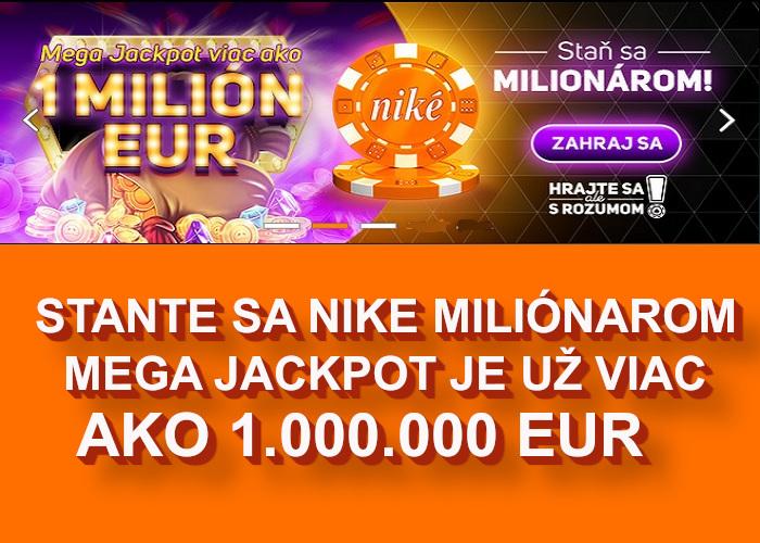 NIKE Online kasino mega Jackpot  Staňte sa milionárom v NIKE   Nike Jackpot padne každým otočom