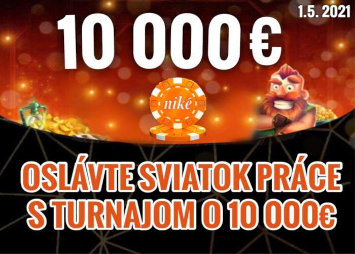Turnaj v Nike Casino o 10.000 € ako bonus na sviatok práce