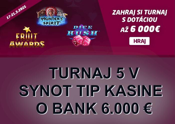 SynotTip kasino turnaj 5   Hrajte o 6.000 € v turnaji Synot kasino