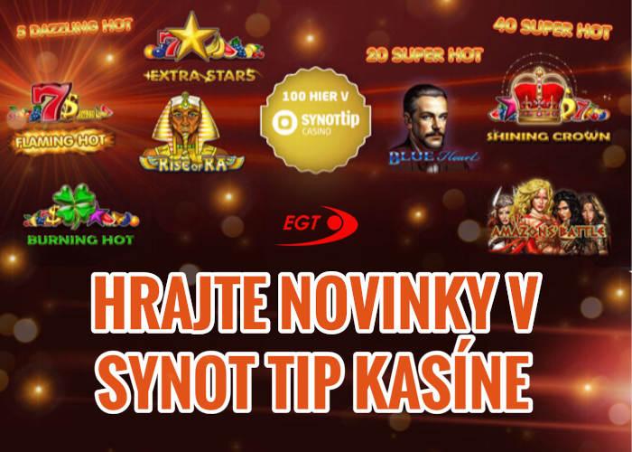 Novinky od EGT online automaty spustené v Synot TIp Kasíne