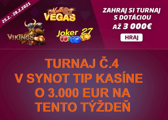 Turnaj 4 v Synot Tip kasíne o 3.000 eur | hrajte synottip  kasino turnaje