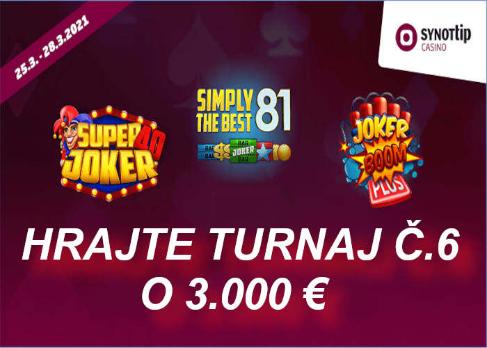 Turnaj 6 v Synot tip online casino | hrajte o bank 3.000 €