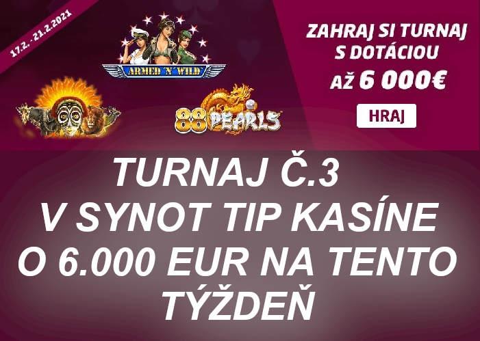 Synot Tip Kasino turnaj 3 s novinkami od Synotu | Hrajte Synot tip kasino turnaj o 6.000 eur
