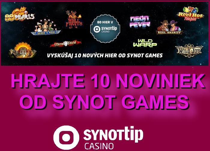 Synot Games novinky spustené v Synot Tip online kasine pre všetkých online hráčov