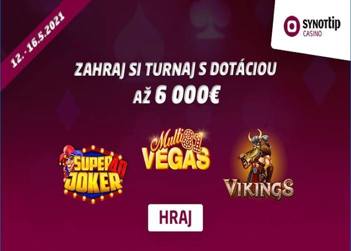 Hrajte turnaj v Synot Tip kasíne o 6.000 €