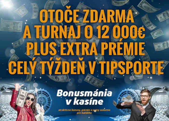 Bonusy v Tipsport kasíno na celý týždeň