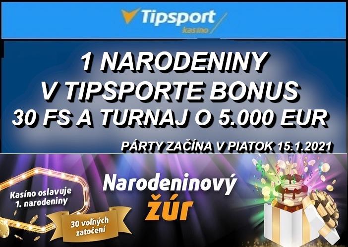 Bonus zdarma na narodeniny Tipsport online kasino   Prvé narodeniny Tipsport kasino   www.casino-online.sk